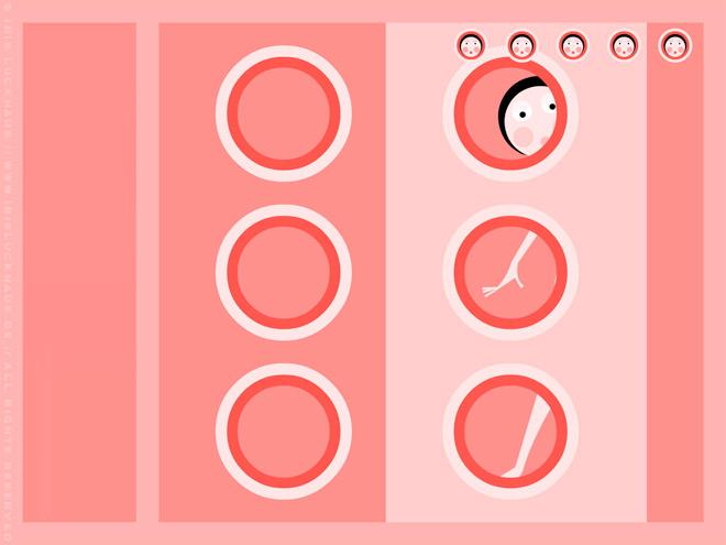 Vektorillustration mit einem Mädchen unter der Dusche im rosa Badezimmer