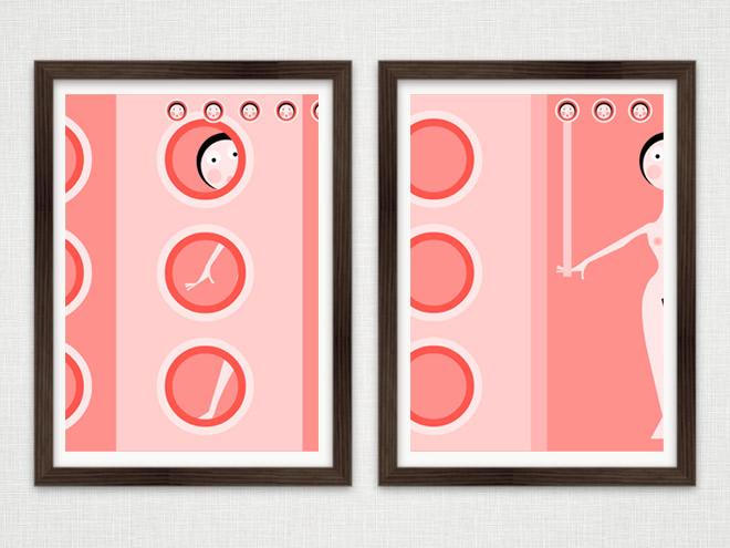 Gerahmte Vektorillustration mit einem Mädchen im rosa Badezimmer im Rahmen