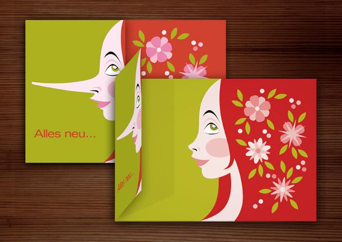 Klappkarte mit einer farbenfrohen Vektorillustration mit dem Portrait eines Mädchen Profil mit langer und kurzer Nase im Mai mit Blumen im roten Haar für Dr. Hilbert