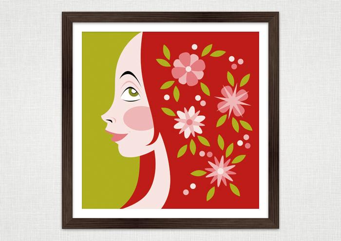 Poster mit einer farbenfrohen Vektorillustration mit dem Portrait eines Mädchen Profil im Mai mit Blumen im roten Haar