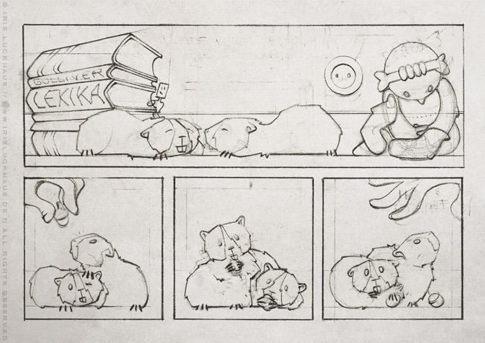 Handgezeichneter Entwurf für einen Comic über die Meerschweinchen Ginnie und Winnie, die hier erstmal eine Nuss essen, für das deutsch-französische Comicseminar in Erlangen