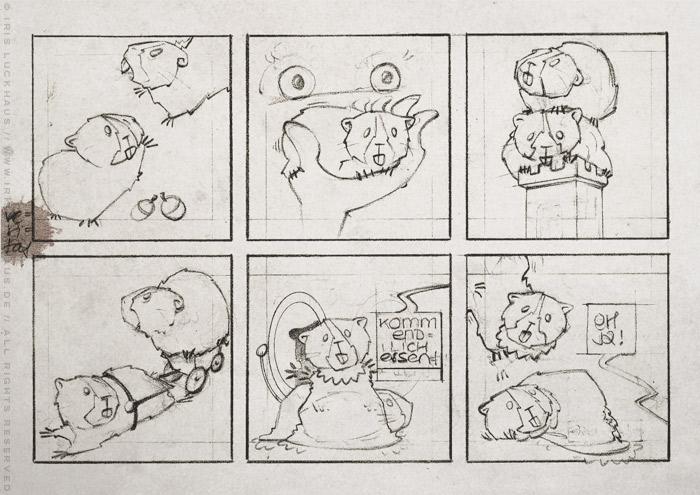 Handgezeichneter Entwurf für einen Comic über die Meerschweinchen Ginnie und Winnie, die hier erstmal mit einem schrecklichen Kind spielen, für das deutsch-französische Comicseminar in Erlangen