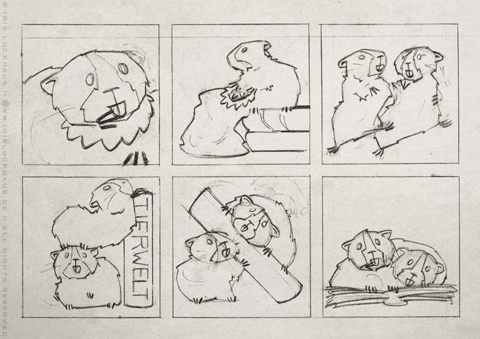 Handgezeichneter Entwurf für einen Comic über die Meerschweinchen Ginnie und Winnie, die aufgrund ihres Identitätsproblems im Lexikon nach der Herkunft ihres Namens suchen, für das deutsch-französische Comicseminar in Erlangen