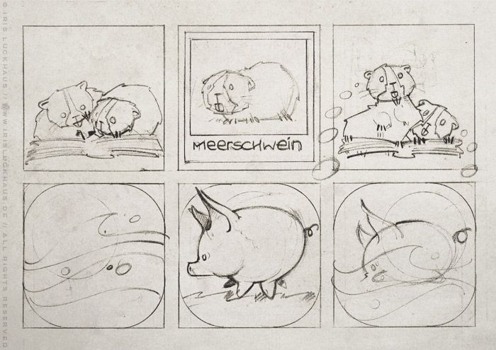 Handgezeichneter Entwurf für einen Comic über die Meerschweinchen Ginnie und Winnie, die nach der Herkunft ihres Namens suchen und Meer und Schweine im Lexikon entdecken, für das deutsch-französische Comicseminar in Erlangen