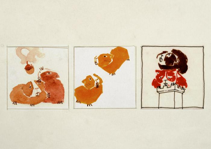 Farbtests für einen Comic über Ginnie und Winnie, zwei Meerschweinchen mit Identitätsproblemen, die nach der wahren Herkunft ihres Namens suchen, für das deutsch-französische Comicseminar in Erlangen