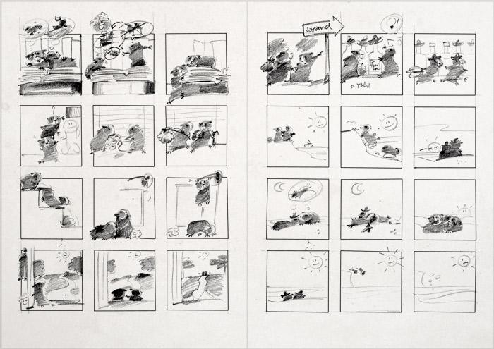 Erste Scribbles für einen Comic über Ginnie und Winnie, zwei Meerschweinchen mit Identitätsproblemen, die nach der wahren Herkunft ihres Namens suchen, für das deutsch-französische Comicseminar in Erlangen