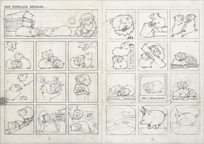 Handgezeichneter Entwurf für einen Comic über die Meerschweinchen Ginnie und Winnie für das deutsch-französische Comicseminar in Erlangen