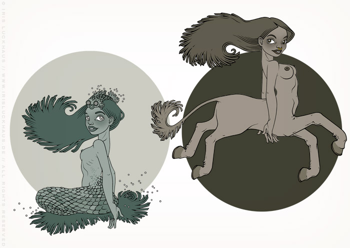 Zeichnung von zwei Mädchen als Fabelwesen Minotaurus bzw. Minotaura und Meerjungfrau bzw. Nixe