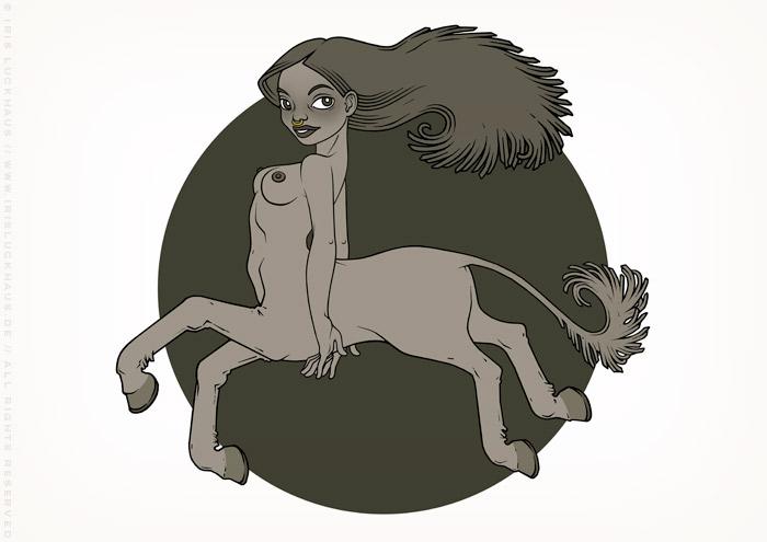 Zeichnung eines Mädchens als Minotauraus bzw. Minotaura, ein Fabelwesen oder Chimäre aus Mensch und Pferd