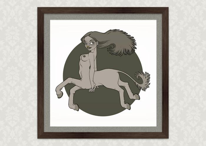 Poster mit der Zeichnung eines Mädchens als Minotauraus bzw. Minotaura