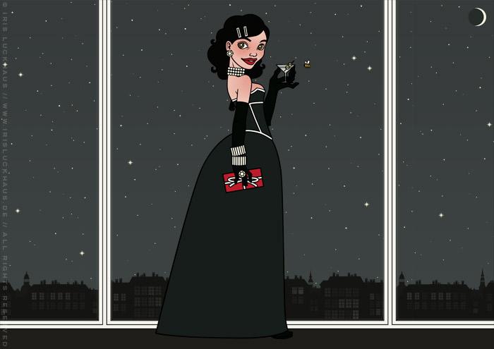 Zeichnung von einem Mädchen, das im schwarzen Abendkleid mit Korsett, Geschenk und Martini am Fenster eines Hochhauses Silvester feiert