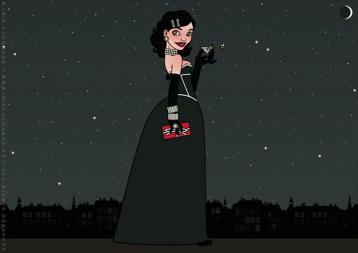 Illustration von einem Mädchen, das im schwarzen Abendkleid mit Korsett, Geschenk und Martini am Fenster eines Hochhauses bei Nacht mit Sternenhimmel Weihnachten oder Silvester feiert, von Iris Luckhaus
