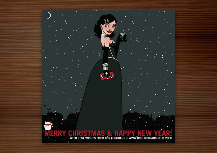 Weihnachtskarte mit der Zeichnung von einem Mädchen, das im schwarzen Abendkleid mit Korsett, Geschenk und Martini am Fenster eines Hochhauses Silvester feiert