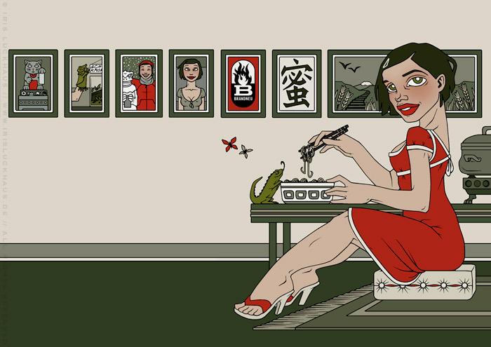 Illustration mit einem Nudelsuppe essenden Mädchen, Leguan und japanischen Schriftzeichen für den Umschlag des Buchs Mein Leben mit Mitsu – Eine Geschichte von Liebe, Sehnsucht und Nudelsuppe von Marcel Magis