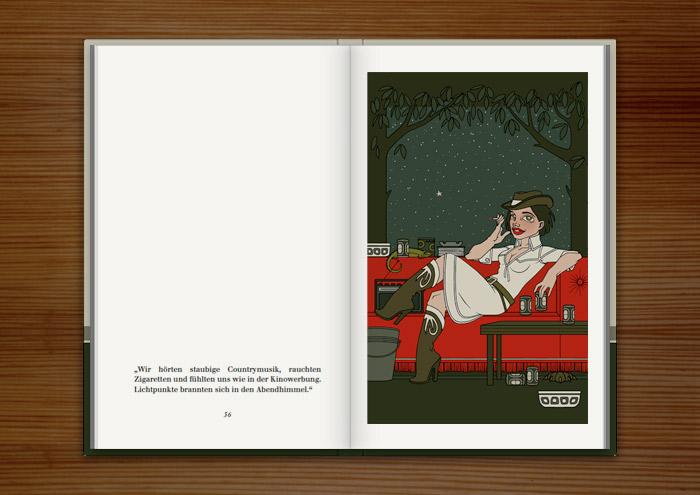 Illustration mit rauchendem Cowgirl in einer Sommernacht, im Buch Mein Leben mit Mitsu von Marcel Magis