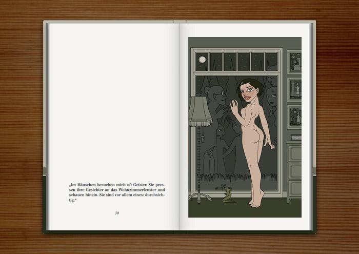 Illustration mit einem nackten Mädchen, das am Fenster Geistern begegnet, im Buch Mein Leben mit Mitsu von Marcel Magis