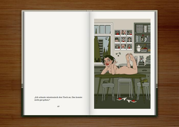 Illustration mit einem nackten Mädchen auf dem Küchentisch, im Buch Mein Leben mit Mitsu von Marcel Magis