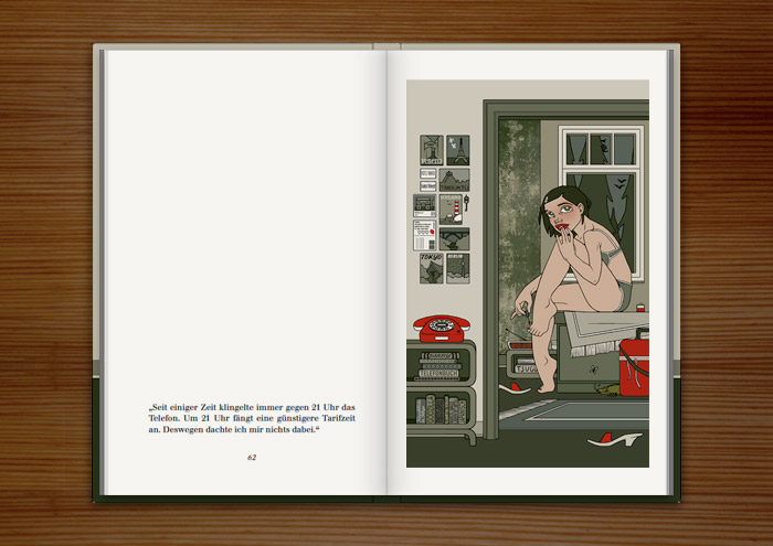 """Illustration eines Mädchens, das sich auf dem Bett sitzend die Zehennägel lackiert und wartet, dass das Telefon klingelt, im Buch """"Mein Leben mit Mitsu"""" von Marcel Magis"""