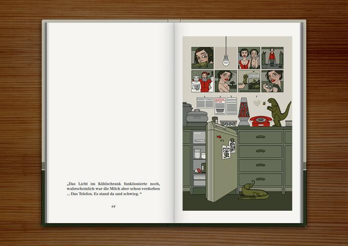 Illustration eines traurig leeren Kühlschrank, im Buch Mein Leben mit Mitsu von Marcel Magis