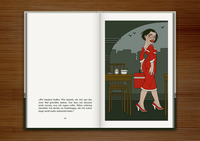 Illustration eines Mädchens, das im Bahnhofscafé mit ihrer Kühltasche den Tisch verlässt, im Buch Mein Leben mit Mitsu von Marcel Magis