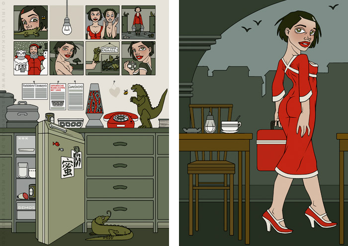 Illustrationen eines traurig leeren Kühlschrank und eines Mädchens, das im Bahnhofscafé mit ihrer Kühltasche den Tisch verlässt, für das Buch Mein Leben mit Mitsu von Marcel Magis