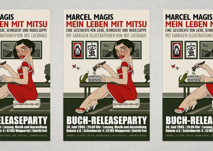 Poster für die Book-Release-Party mit Lesung, Konzert und Ausstellung für das Buch Mein Leben mit Mitsu von Marcel Magis