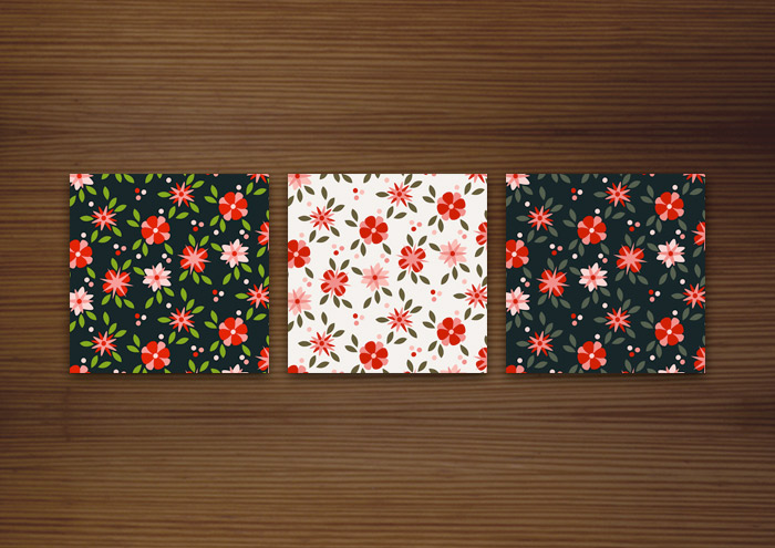 Illustration von Mustern mit Blumen für Textilien, Papiere und Hintergründe