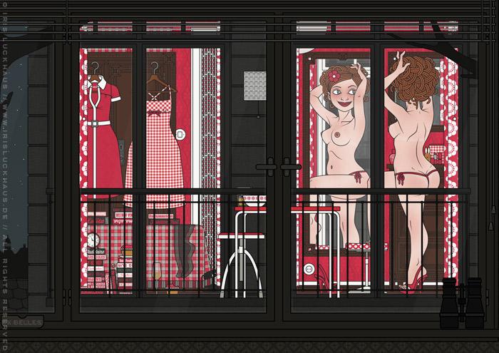 Vollständige Zeichnung eines Pinups, das aufreizend am Fenster für den Nachbarn posiert, für die Comic Anthologie Bettgeschichten