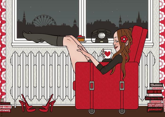 Zeichnung eines pausierenden Mädchens, das spät abends bequem im Sessel liegt, aus einer Herztasse trinkt und die Füße hochlegt, von Iris Luckhaus