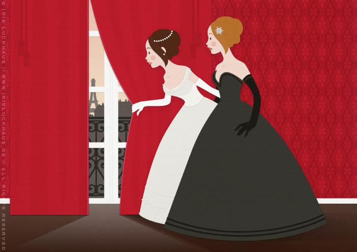 Märchen Mädchen Freundinnen Prinzessin Mode Vorhang Neugier Illustration