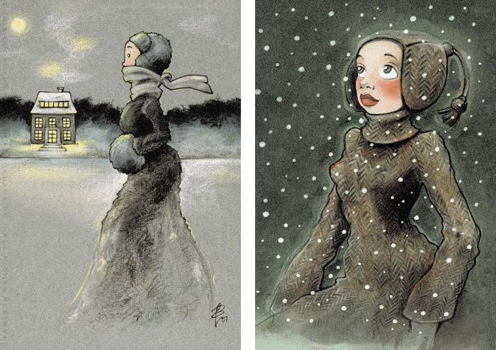 Zeichnungen von einem Mädchen beim Eislaufen mit Schlittschuhen auf einem winterlichen See in Ölkreide und von einem Mädchen, das voller Staunen das Wunder des ersten Schnees im Winter betrachtet, in Markertechnik, von Iris Luckhaus