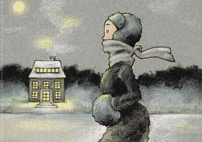 Zeichnungen von einem Mädchen beim Eislaufen mit Schlittschuhen auf einem winterlichen See in Ölkreide, von Iris Luckhaus