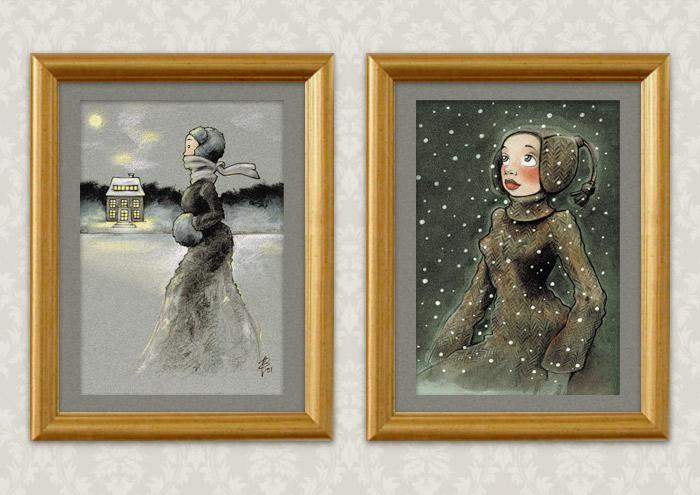 Kunstdrucke mit Zeichnungen von einem Mädchen beim Eislaufen mit Schlittschuhen auf einem winterlichen See in Ölkreide und von einem Mädchen, das voller Staunen das Wunder des ersten Schnees im Winter betrachtet, in Markertechnik