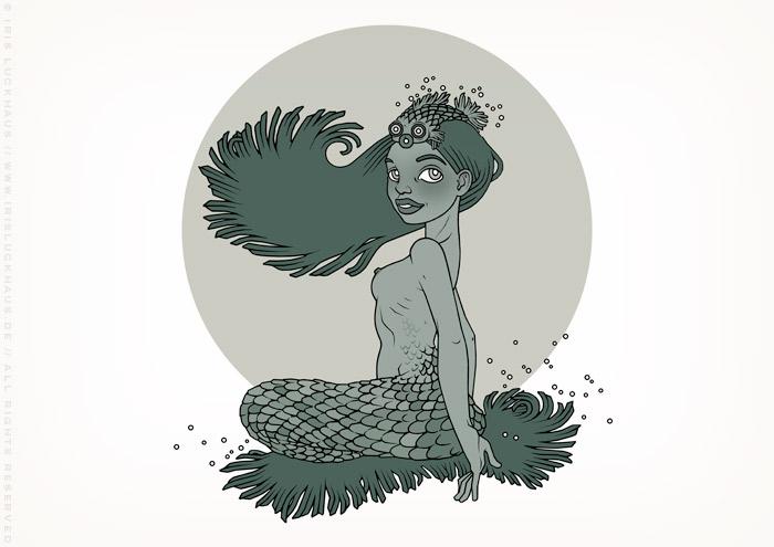 Zeichnung eines Mädchens als Meerjungsfrau, Nixe oder Meermädchen, ein Fabelwesen oder eine Chimäre aus Mensch und Fisch