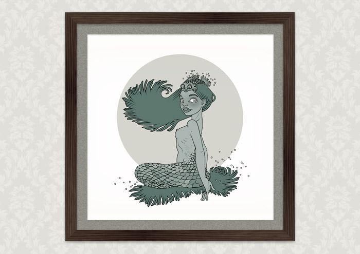 Poster mit der Zeichnung eines Mädchens als Meerjungsfrau, Nixe oder Meermädchen