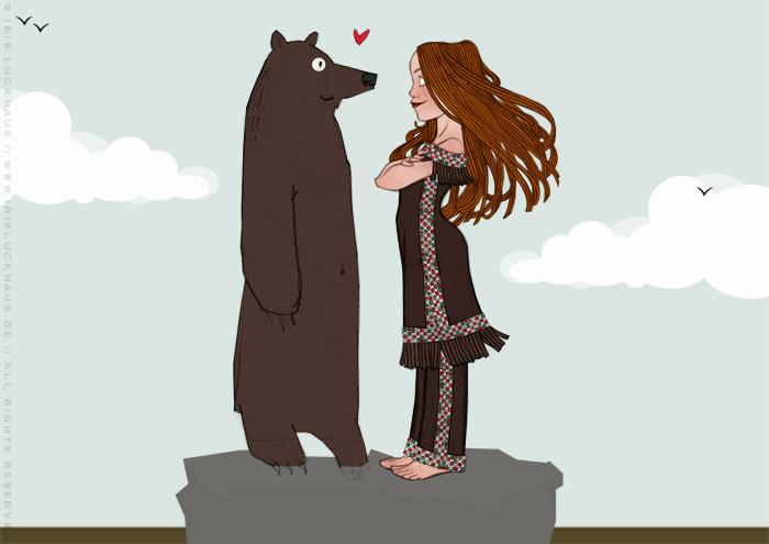 Zeichnung von Lily Lux als Indianer-Squaw Nschotschi, die Schwester Winnetous, im Perlenkleid mit einem Grizzly Bär im wilden Westen