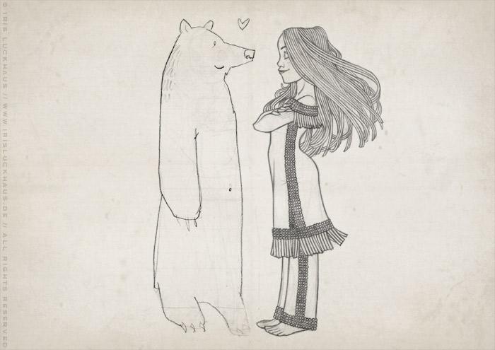 Skizze von Lily Lux als Indianer-Squaw Nschotschi, die Schwester Winnetous, im Perlenkleid mit einem Grizzly Bär im wilden Westen