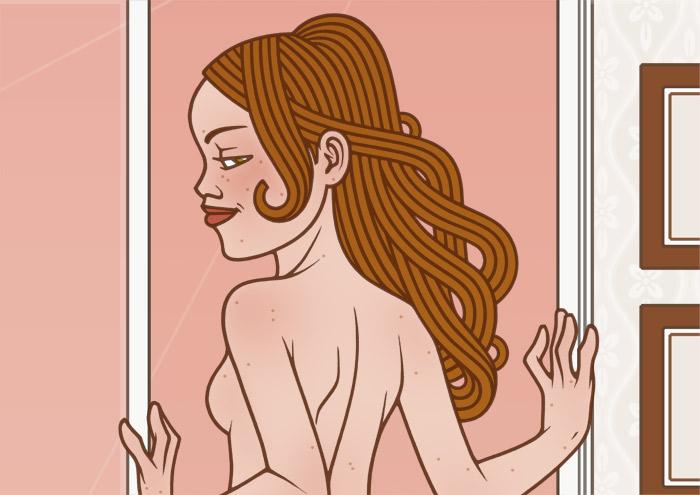 Auschnitt aus der Zeichnung von einem Pinup Mädchen, das in Unterwäsche am Fenster eines Hotels in Paris steht