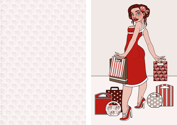 Modeillustration der Sympathiefigur Pearlie Mae im Kaufrausch mit Einkaufstüten und Rosenmuster, als Werbung für den Mode verkaufenden Onlineshop Label Suite