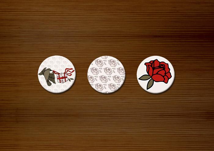 Buttons von Pearlie Mae mit Vögelchen, Rosenmuster und Rose für den Mode verkaufenden Onlineshop Label Suite
