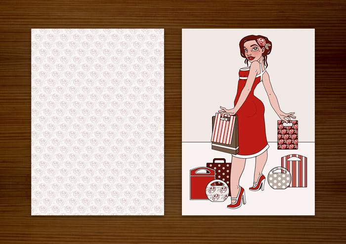 Postkarte und Flyer mit Modeillustration der Sympathiefigur Pearlie Mae im Kaufrausch mit Einkaufstüten und Rosenmuster, als Werbung für den Mode verkaufenden Onlineshop Label Suite