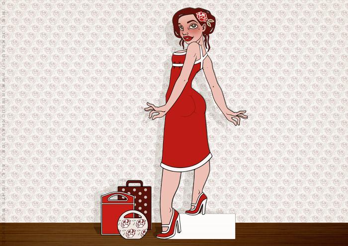 Rosentapete und Aufstellfigur mit Modeillustration der Sympathiefigur Pearlie Mae im Kaufrausch mit Einkaufstüten, als Werbung für den Mode verkaufenden Onlineshop Label Suite