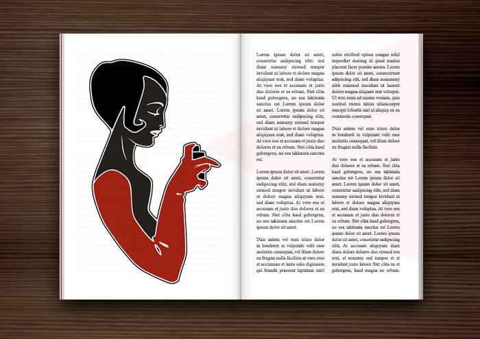 Magazinseite mit Zeichnung von Mädchen beim Schönmachen mit Parfum