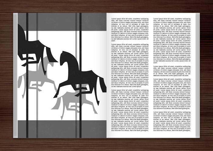 Zeichnung von einem schwarzweißen Karussell mit Holzpferdchen im Laugh It Off Annual III