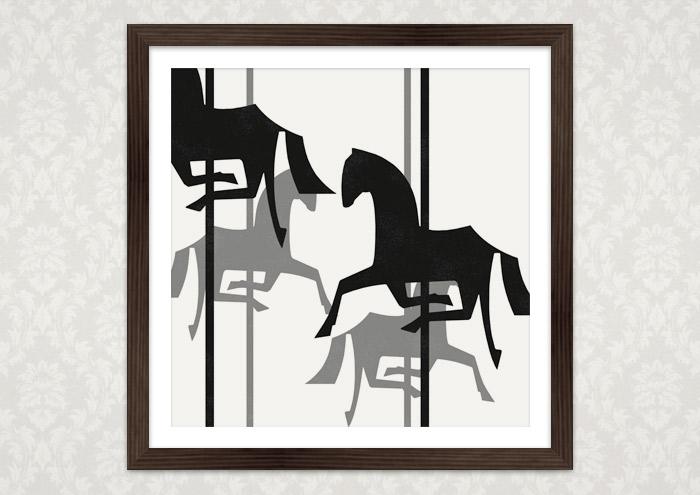 Poster von einem schwarzweißen Karussell mit Holzpferdchen bei Posterlounge