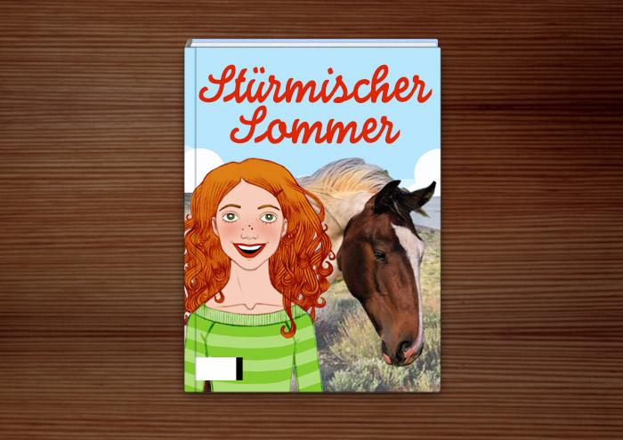 Buch Umschlag mit Zeichnung von Pferdemädchen, Freundinnen auf dem Reiterhof, Mädchen mit Pferden, als Portraits für A.U.F.