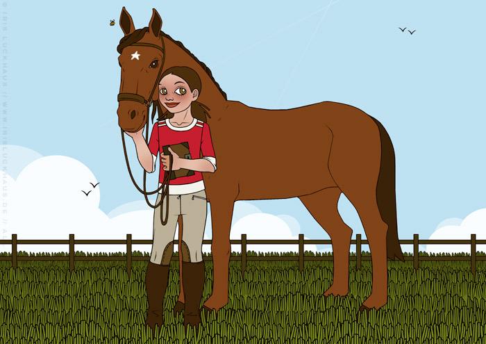 Illustration von Mädchen mit Pferd und Tagebuch für Jugendbuch Pferdestarke Girls