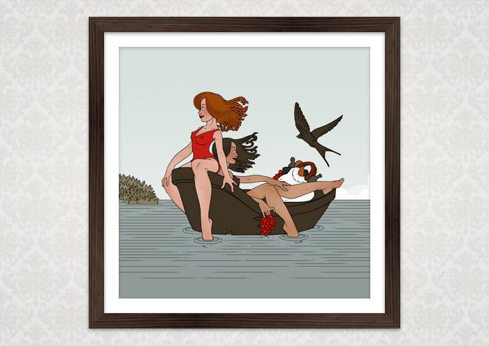 Poster von Iris Luckhaus mit Freundinnen, die Urlaub am Meer machen und einen Ausflug mit dem Boot unternehmen