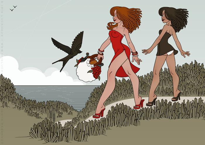 Illustration von Iris Luckhaus mit Freundinnen, die im Sommer Urlaub am Meer machen und unterwegs zum Picknick am Strand sind