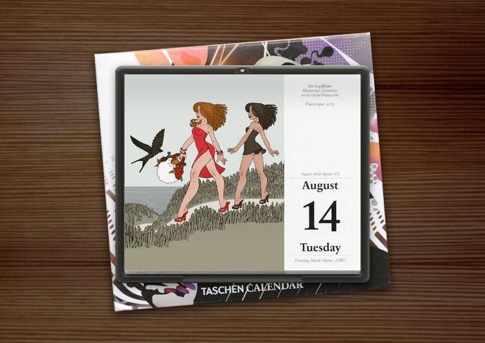 Zeichnung von Iris Luckhaus mit Freundinnen, die im Sommer Urlaub am Meer machen und unterwegs zum Picknick am Strand sind, im Illustration Now Tageskalender vom Taschen Verlag